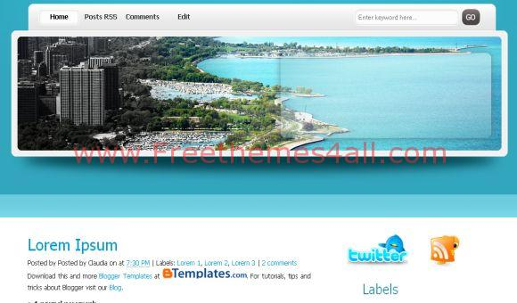 Free Blue Travel Web2.0 Blogger Template