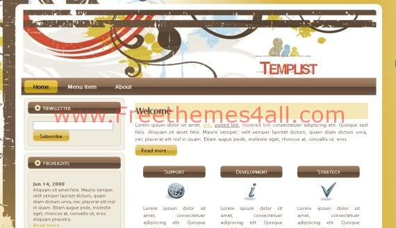 Free Vector Graphic Jquery Yellow Website Template