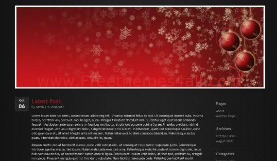 Free WordPress Christmas Black Red Theme