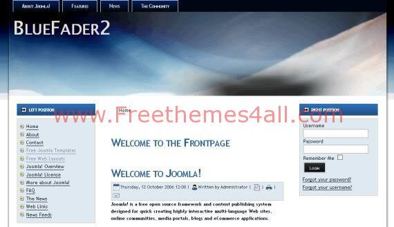 Free Joomla Fader Blue Black Web2.0 Template