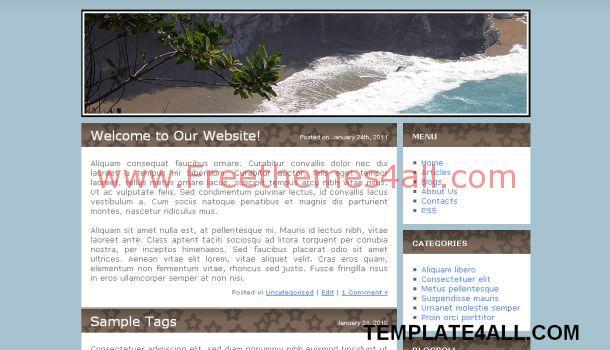 Beach Sea Blue CSS Website Template