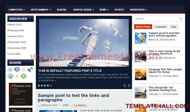 Free Magazine Blue Jquery WordPress Theme