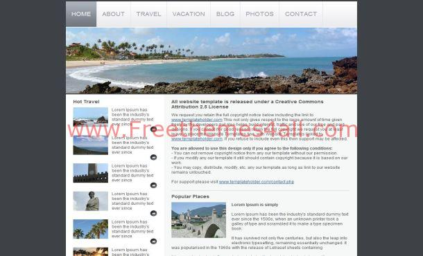 Free Blue Gray Travel HTML Website Template