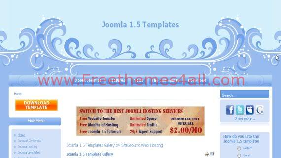 Free Joomla Waves Bleu art Web2.0 Theme Template