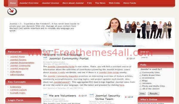 Free Red White Business Joomla Template