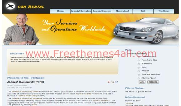 Free Orange Car Rental Joomla Template