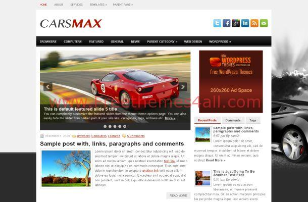 Free WordPress Racing Cars News Theme Template