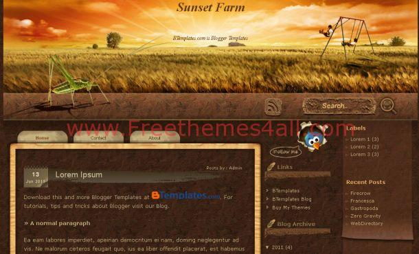 Free Abstract Sunset Brown Blogger Template