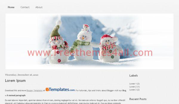 Snowman Christmas Blogger Template