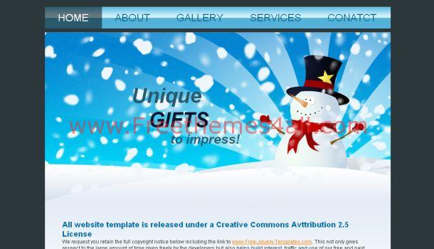 Free Blue White Gifts Website Template