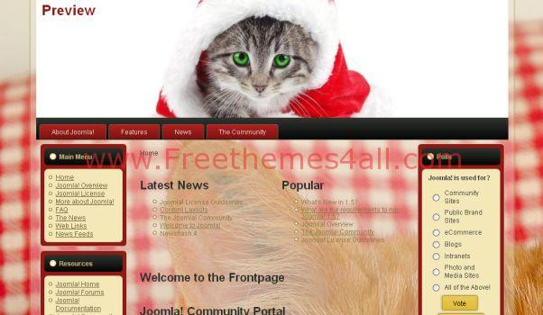 Free Cat Pink Red Christmas Joomla Template