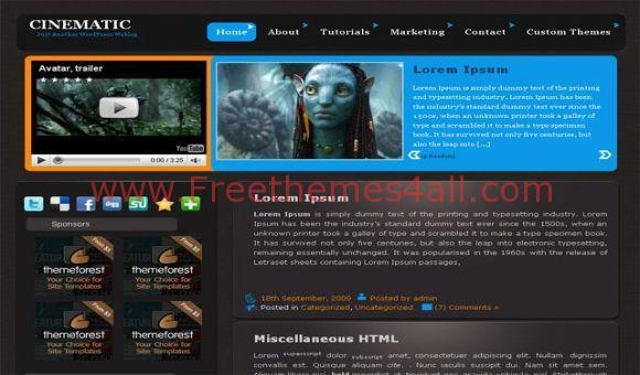 Free Black Blue Movies WordPress Theme