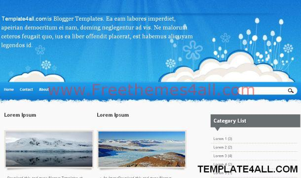 Floral Clouds Blue Sky Blogger Template