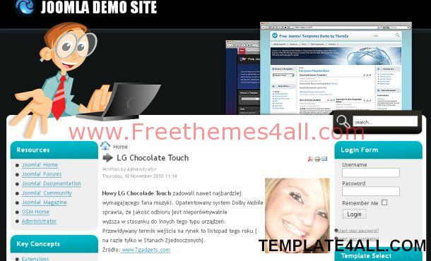 Free Black Blue Computers Joomla Template