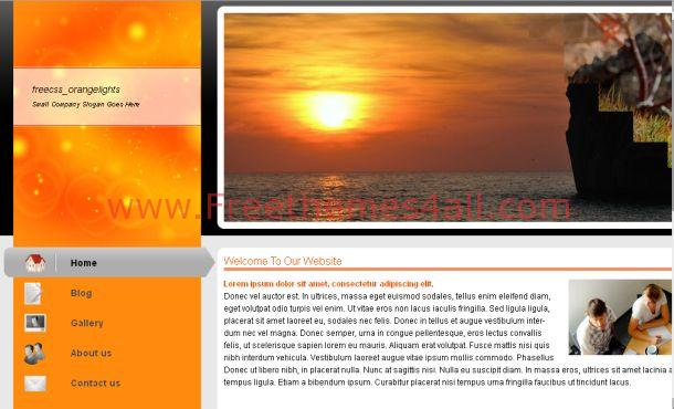 Free Sunset Orange Business CSS Template