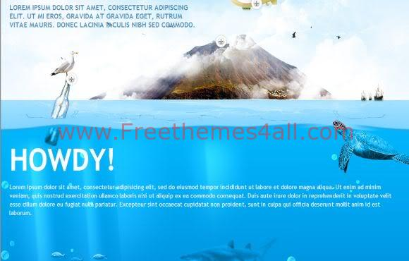 Free CSS Sea World Fish Web2.0 Website Template
