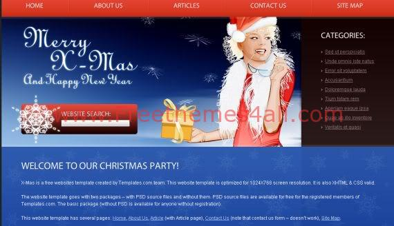 Free Christmas Red Blue Sexy CSS Template
