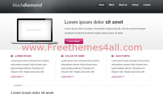 Free Jquery Black White CSS Website Template