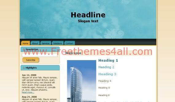 Free HTML Sky Blue Vector Website Template