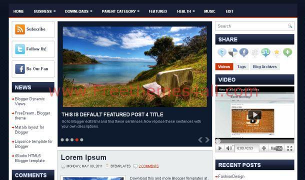 Free Blue Magazine Blogger Layout Template