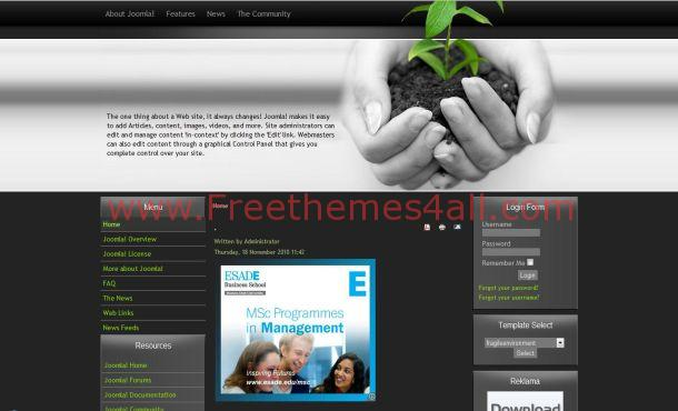 Free Dark Gray Black Nature Joomla Template