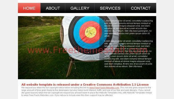 Free Dart Club Black Website Template