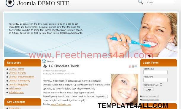 Free Blue Medical Dentist Joomla Template
