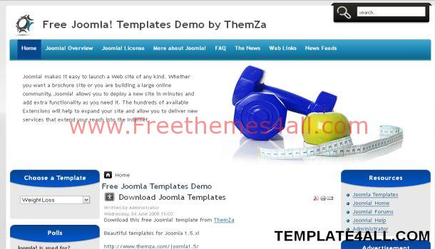 Free Weight Loss Blue Joomla Template