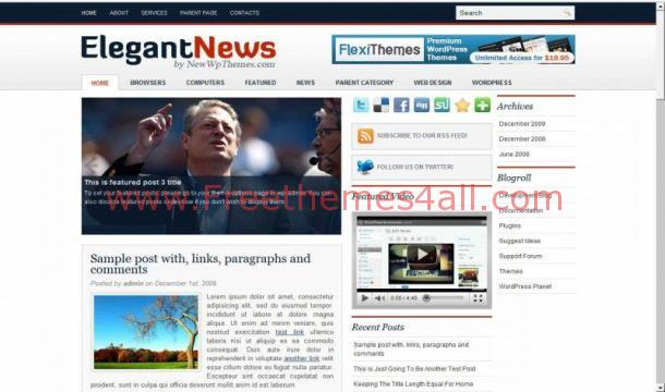 Free Elegant News Magazine WordPress Theme