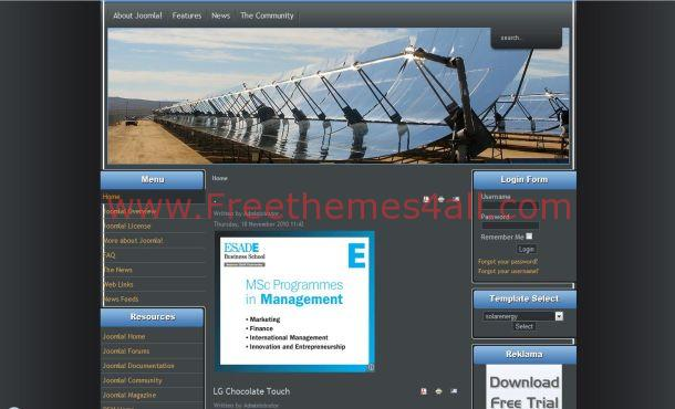 Free Black Blue Energy Joomla Theme Template