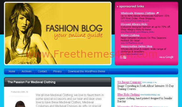 Free Sexy Fashion Pink WordPress Theme