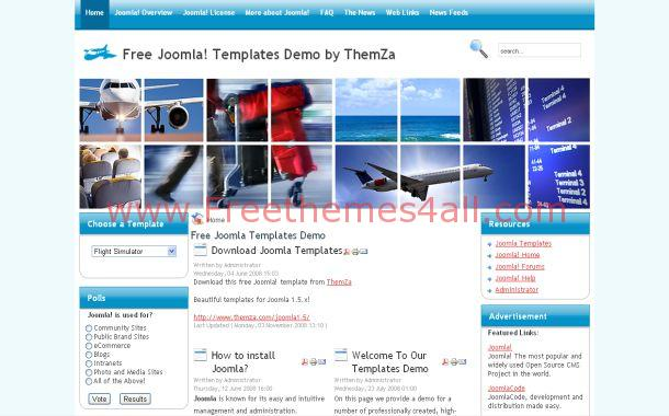 Flight Checker Blue Free Joomla Theme Template