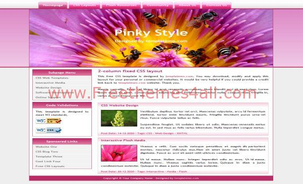Free Blue Pink Floral Website Template