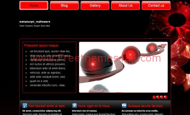 Free Dark Red Floral Css Website Template Freethemes4all