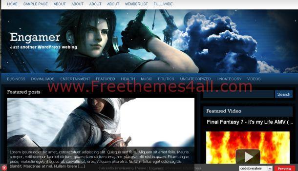 Free Gaming Network Blue WordPress Theme