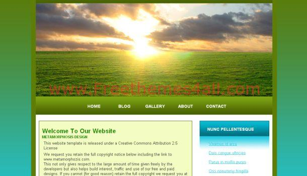 Free greeny nature css website template freethemes4all for Html header menu templates
