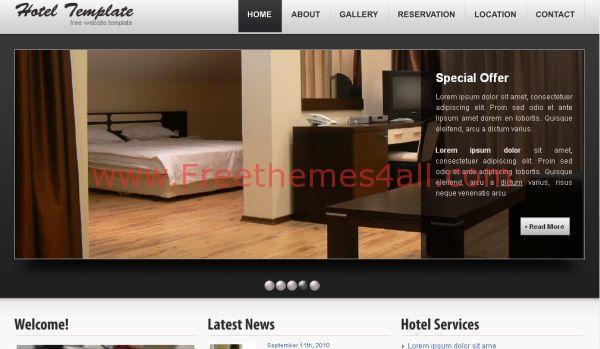 Black Hotel HTML Website Template - Freethemes4all on free smtp, free adobe, free vb,