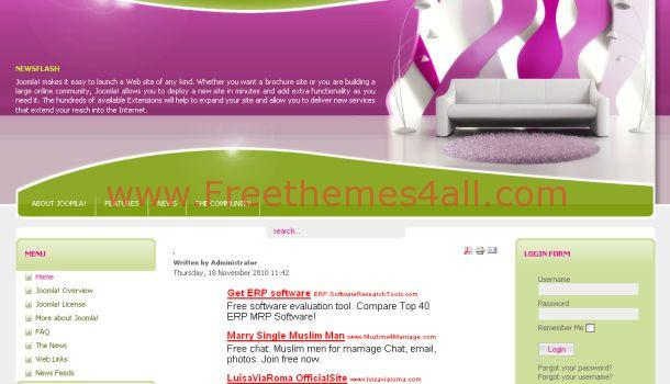 Free Interior Design Pink Joomla Theme Template