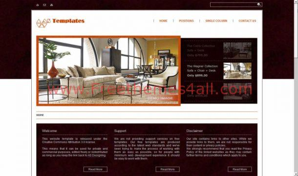 Free Joomla 1.6 Brown Furnitures Template