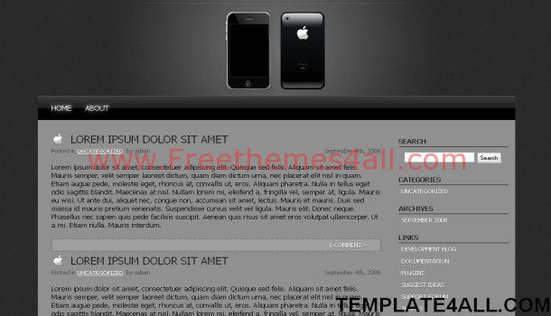 Free Iphone Dark Black WordPress Theme