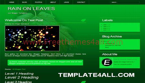Dark Green Grunge Blogger Template