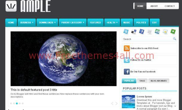 Free Black Blue Magazine Blogger Template