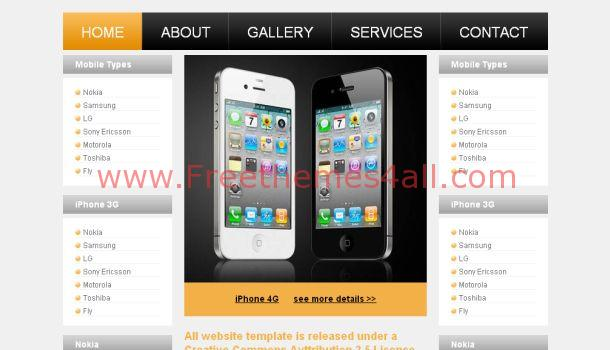 Free Mobiles Iphone Shop CSS Template
