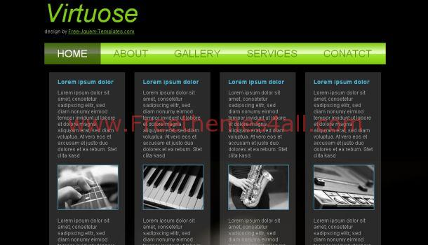 Free Music Black Green Website Template