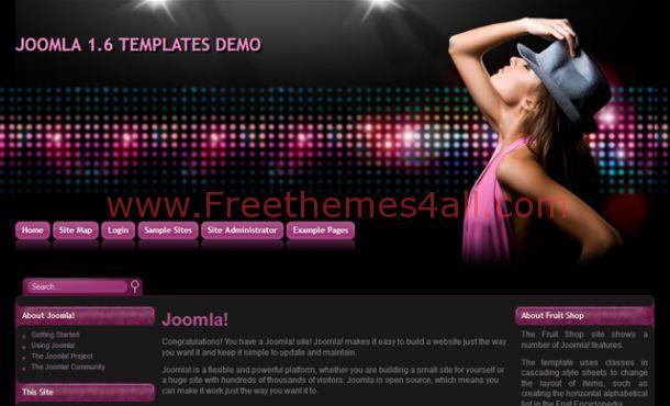 Free Dark Black Sexy Music Joomla Template