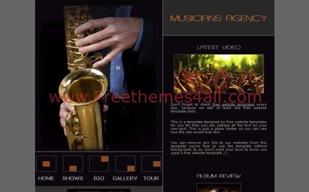 Free Black Music Gray CSS Website Template