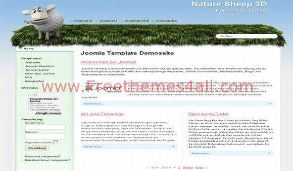 Free Sheep Green Nature Joomla Template