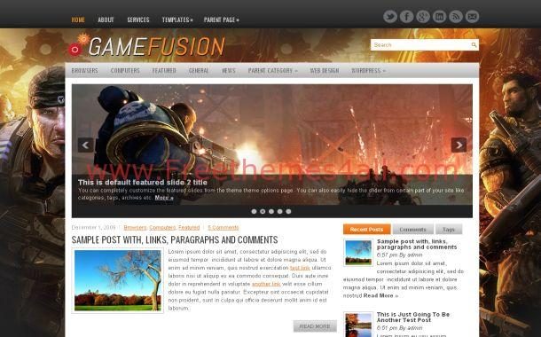 Dark Black Orange Games Free WordPress Theme