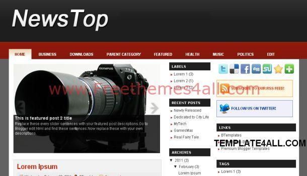 News Top Magazine Blogger Template