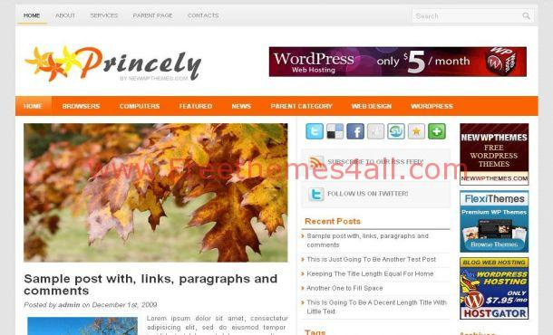 Light Gray WordPress Orange Theme